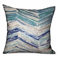 "Plutus Skyline Breeze Blue Chevron Luxury Outdoor/Indoor Throw Pillow Double sided  18"" x 18 - 1"