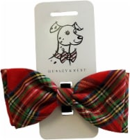 Huxley & Kent Red Plaid Tie Dog Collar Attachment (Bow Tie, Small) - 1