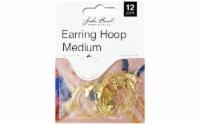 John Bead MHF Earring Hoop Med Gold 12pc - 1