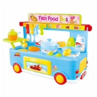 AZImport PS8807 Fast Food Bus Kitchen Play Set Toy, Blue - 29 Piece - 29
