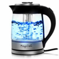 MegaChef MGKTL-1777 1.8 Litre Cordless Glass & Stainless Steel Electric Tea Kettle w Infuser