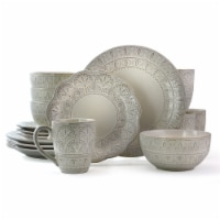 Elama White Lace 16 Piece Luxurious Stoneware Dinnerware with Complete Setting for 4