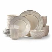 Elama Market Finds 16 Piece Round Stoneware Dinnerware Set in Embossed White - Each