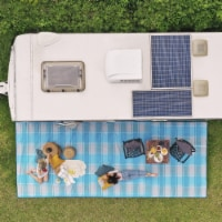 Cgear Rv Comfort Mat Patented Sand-free Technology w/Ultra Soft Material blue Plaid, 8' X 11 - 1