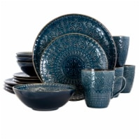 Elama  Deep Sea Mozaic 16 Piece Luxurious Stoneware Dinnerware with Complete Setting for 4