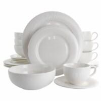 Elama Pallene 20 Piece Porcelain Dinnerware Set in White