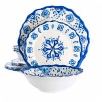 Elama Blue Garden 12 Piece Scalloped Lightweight Melamine Dinnerware Set in Blue
