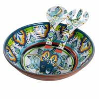 Elama EL-SPANISHTERRACE 3 Piece Spanish Terrace Lightweight Melamine Salad Bowl Set