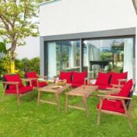 Gymax 8PCS Patio Conversation Set Wood Frame Furniture Set w/ Red Cushions - 1 unit