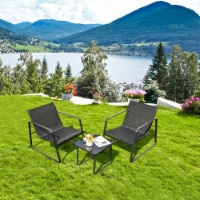 Gymax 3PCS Patio Bistro Set Conversation Furniture Set w/ Fast-Drying Fabric - 1 unit