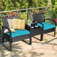 Gymax 3PCS Patio Rattan Conversation Furniture Set Outdoor Yard w/ Turquoise Cushions - 1 unit