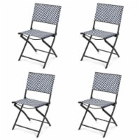 Gymax Set of 4 Patio Folding Rattan Dining Chairs Camping Portable Garden - 1 unit