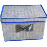 Elegant Home Fashions Soft Storage Boxes Set Of 2 Lid & Handle Grey/Blue YN95092 - 1