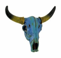 Colorful Mottled Blue Tie Dye Steer Skull Wall Hanging - One Size