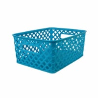 Romanoff Products ROM74008BN Small Woven Basket, Turquoise - Pack of 3