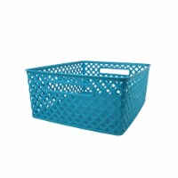 Romanoff Products ROM74108BN Medium Woven Basket, Turquoise - 3 Each - Pack of 3