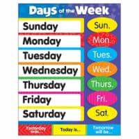 Trend Enterprises T-38203BN 17 x 22 in. 6 Piece Days of the Week Stars Learning Chart - 6