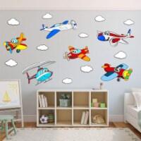VWAQ Kids Airplane Wall Decals Peel and Stick Aviation Vinyl Stickers Nursery Decor - PAS31 - 1