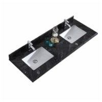 """Black Wood Marble Countertop - 60"""" - Single Hole with Rectangular Sink"""