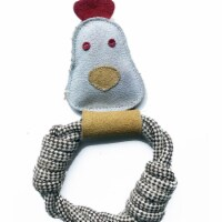 Dog Owners Outdoor Gear 890402 Calico Chicken Rope Ring Pet Toy, White