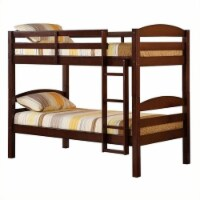 Pemberly Row Twin over Twin Solid Wood Bunk Bed in Espresso - 1