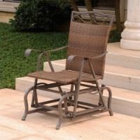 Pemberly Row Resin Wicker Patio Glider in Brown - 1