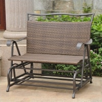 Pemberly Row Patio Glider Loveseat in Antique Brown - 1