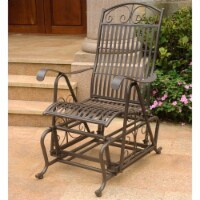 Pemberly Row Single Iron Patio Glider in Matte Brown - 1