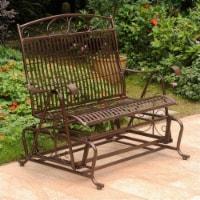 Pemberly Row Iron Patio Glider Loveseat in Bronze - 1