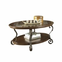 Bowery Hill Oval Coffee Table in Medium Brown - 1