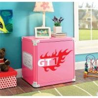 Rosebery Kids Metal Race Car Nightstand in Pink - 1