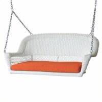 Steel Wicker Porch Swing in White with Orange Cushion-Pemberly Row