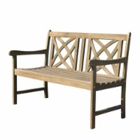 Wood Outdoor Bench in Natural Brown-Pemberly Row - 1