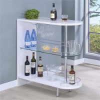 Bowery Hill 2 Shelf Pub Table in Glossy White and Chrome - 1