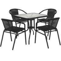 Bowery Hill 5 Piece Square Patio Dining Set in Black - 1