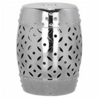 Hawthorne Collection Ceramic Garden Stool in Silver