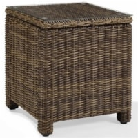 Pemberly Row Wicker Patio End Table in Brown