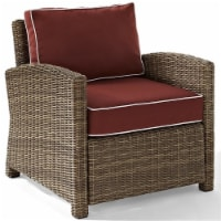 Pemberly Row Wicker Patio Chair in Brown and Sangria - 1