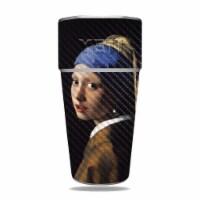 MightySkins CF-YERAM26SI-Girl With Pearl Earring Carbon Fiber Skin for Yeti Rambler 26 oz Sta - 1