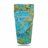 MightySkins CF-YERAM26SI-Teal Marble Carbon Fiber Skin for Yeti Rambler 26 oz Stackable Cup -