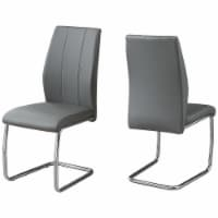 Monarch Faux Leather Dining Side Chair in Gray (Set of 2) - 1