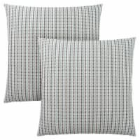 Pillow - 18 X 18  / Light Blue / Grey Abstract Dot / 2Pcs - 1
