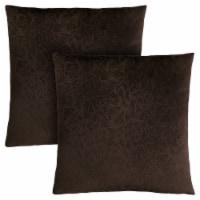 Pillow - 18 X 18  / Dark Brown Floral Velvet / 2Pcs - 1