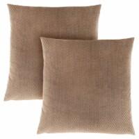 Pillow - 18 X 18  / Beige Diamond Velvet / 2Pcs - 1