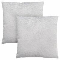 Pillow - 18 X 18  / Light Grey Feathered Velvet / 2Pcs - 1
