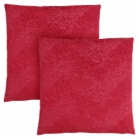 Pillow - 18 X 18  / Red Feathered Velvet / 2Pcs - 1