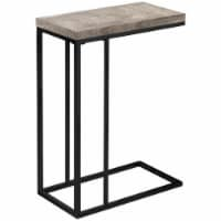 Monarch Contemporary Sturdy Wood Top Side Table in Taupe and Black - 1