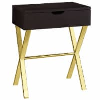 Monarch 24  Contemporary Accent Wood Top Storage End Table Cappuccino And Gold - 1