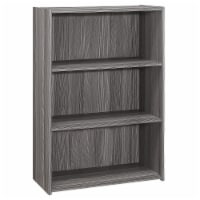 Monarch 3 Shelf 25  Simple Transitional Wooden Bookcase in Gray - 1