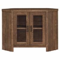 Monarch 42  Contemporary Glass Door Wooden Corner TV Stand in Brown - 1